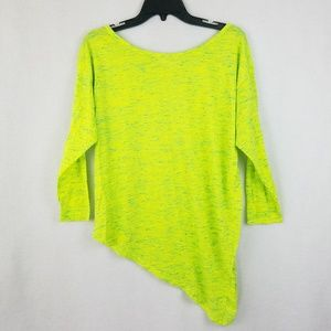 Umgee Asymmetrical Neon Green Heatherd Top